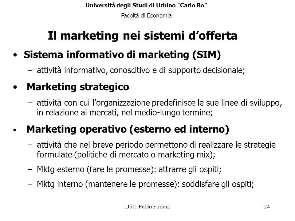 Dott. Fabio Forlani24 Sistema informativo di marketing (SIM) –attività informativo, conoscitivo e di supporto decisionale; Marketing strategico –attiv