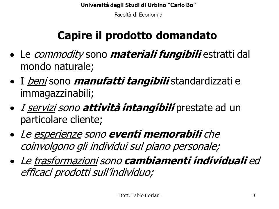 Dott. Fabio Forlani3 Capire il prodotto domandato Le commodity sono materiali fungibili estratti dal mondo naturale; I beni sono manufatti tangibili s