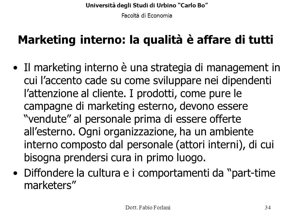 Dott. Fabio Forlani34 Il marketing interno è una strategia di management in cui laccento cade su come sviluppare nei dipendenti lattenzione al cliente