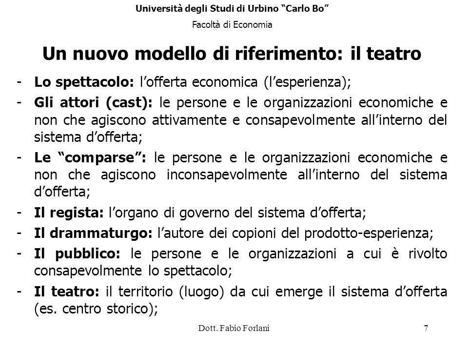 Dott. Fabio Forlani7 Un nuovo modello di riferimento: il teatro -Lo spettacolo: lofferta economica (lesperienza); -Gli attori (cast): le persone e le