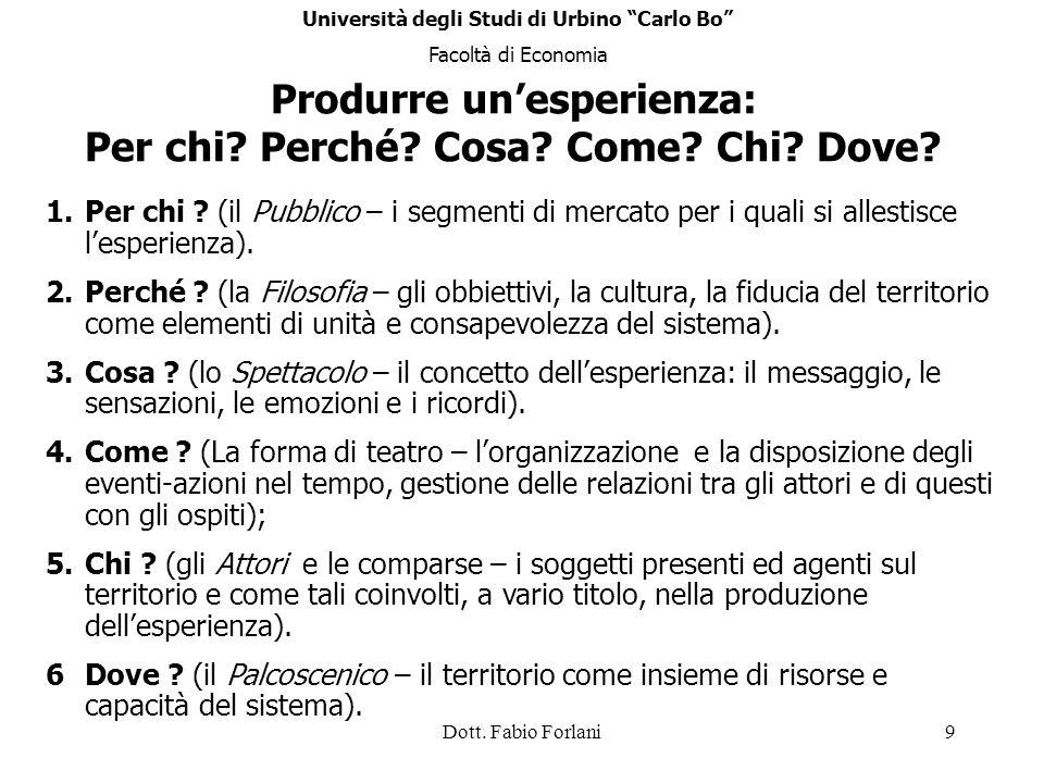 Dott. Fabio Forlani9 Produrre unesperienza: Per chi? Perché? Cosa? Come? Chi? Dove? 1.Per chi ? (il Pubblico – i segmenti di mercato per i quali si al