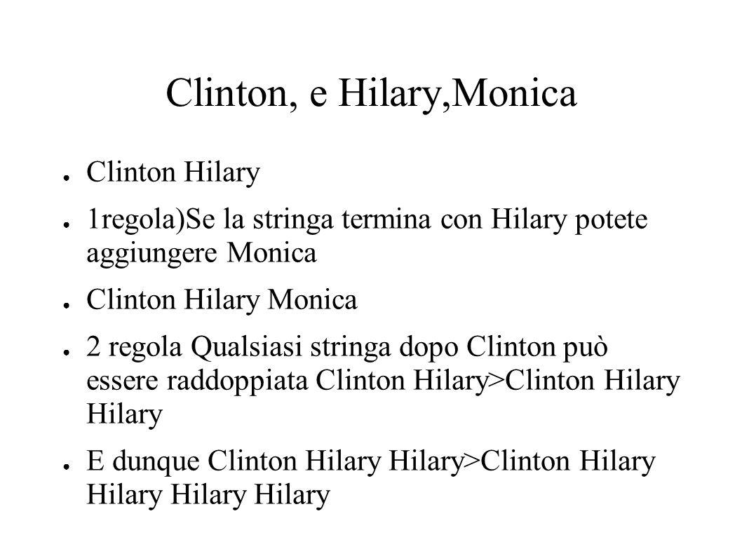 Clinton, e Hilary,Monica Clinton Hilary 1regola)Se la stringa termina con Hilary potete aggiungere Monica Clinton Hilary Monica 2 regola Qualsiasi str