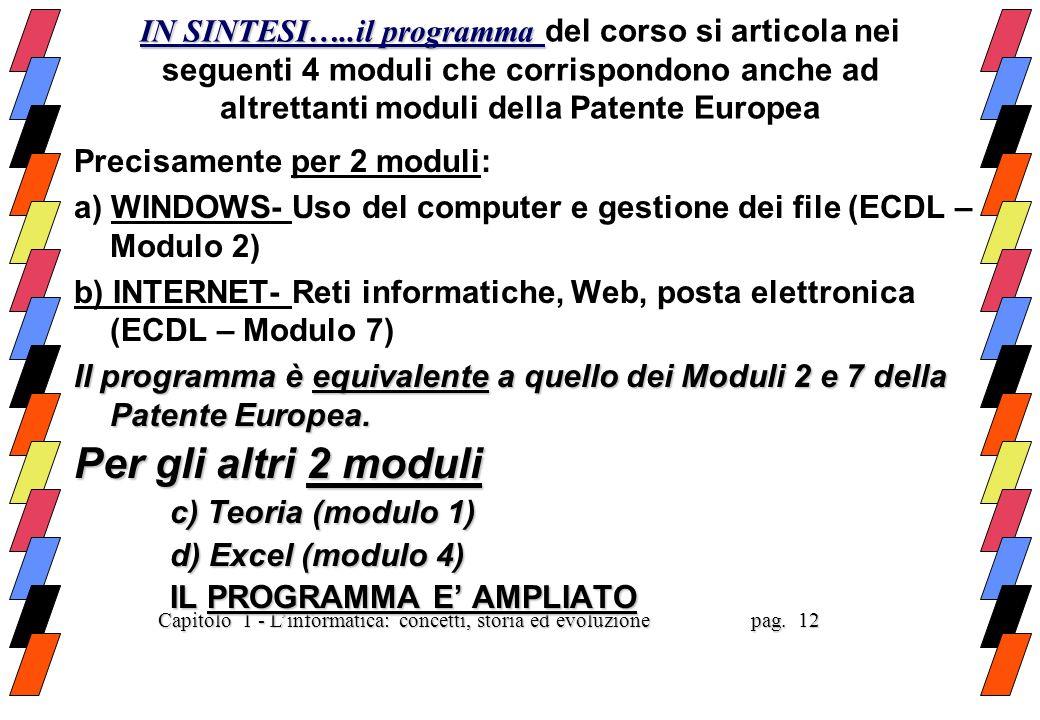INTEGRAZIONI RISPETTO ALLECDL MODULO 1 (Teoria): Dati e programmi, Sistemi di numerazione, Elementi di codifica, Le memorie, Le unita di input e outpu