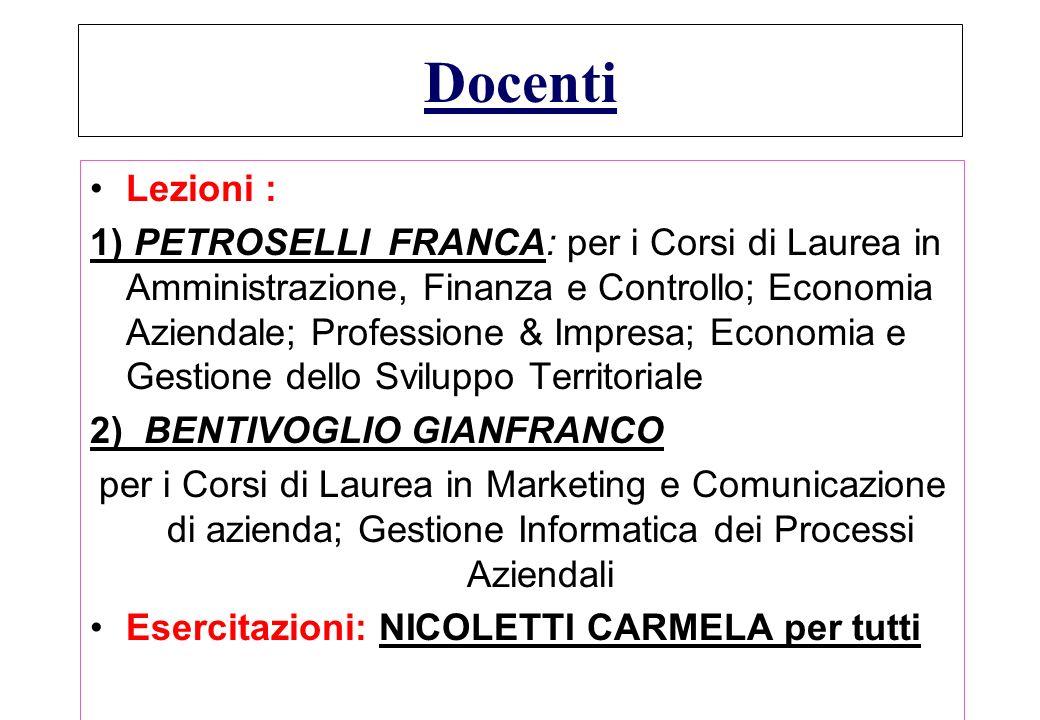 GESTIONE INFORMATICA DEI DATI AZIENDALI LAUREE triennali + EX LAUREE -DIPLOMI a.a. 2003/2004 DOCENTI PROGRAMMA ESAMI TESTI ORARI