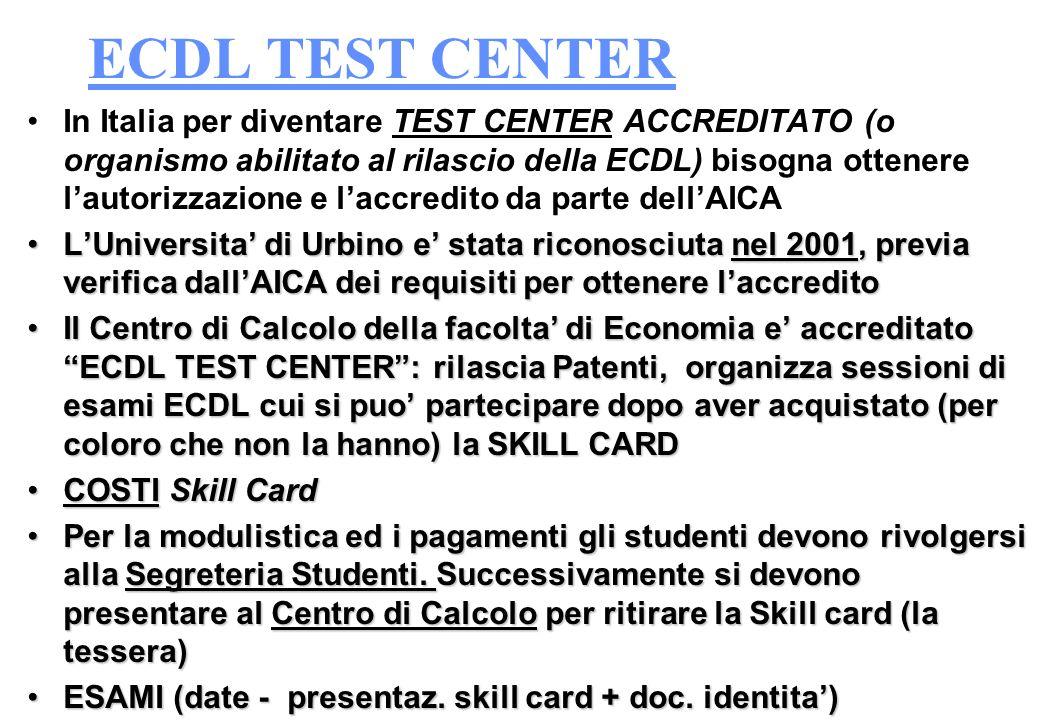 COSE LECDL Sia il programma che i test sono identici in qualunque Paese vengano effettuati (17 paesi membri) Ogni esame puo essere sostenuto presso qu