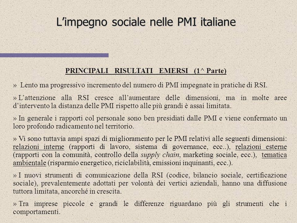 Limpegno sociale nelle PMI italiane Ricerca realizzata da ISVI (Istituto per i Valori dimpresa) in collaborazione con Doxa e conclusasi nel gennaio 20