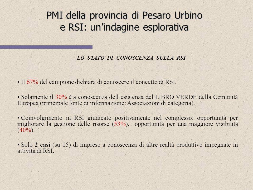 PMI della provincia di Pesaro Urbino e RSI: unindagine esplorativa I NUMERI DEL CAMPIONE 15 su 20 (75%) 5 su 20 (25%) Suddivisione del campione per se