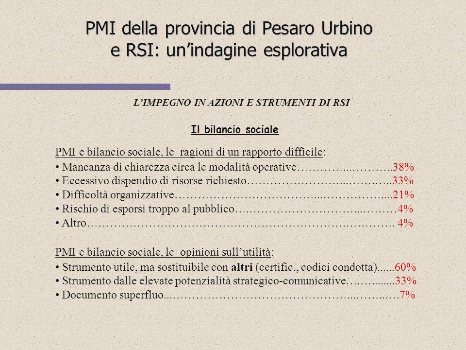 PMI della provincia di Pesaro Urbino e RSI: unindagine esplorativa LIMPEGNO IN AZIONI E STRUMENTI DI RSI Le imprese impegnate in politiche di RSI sono