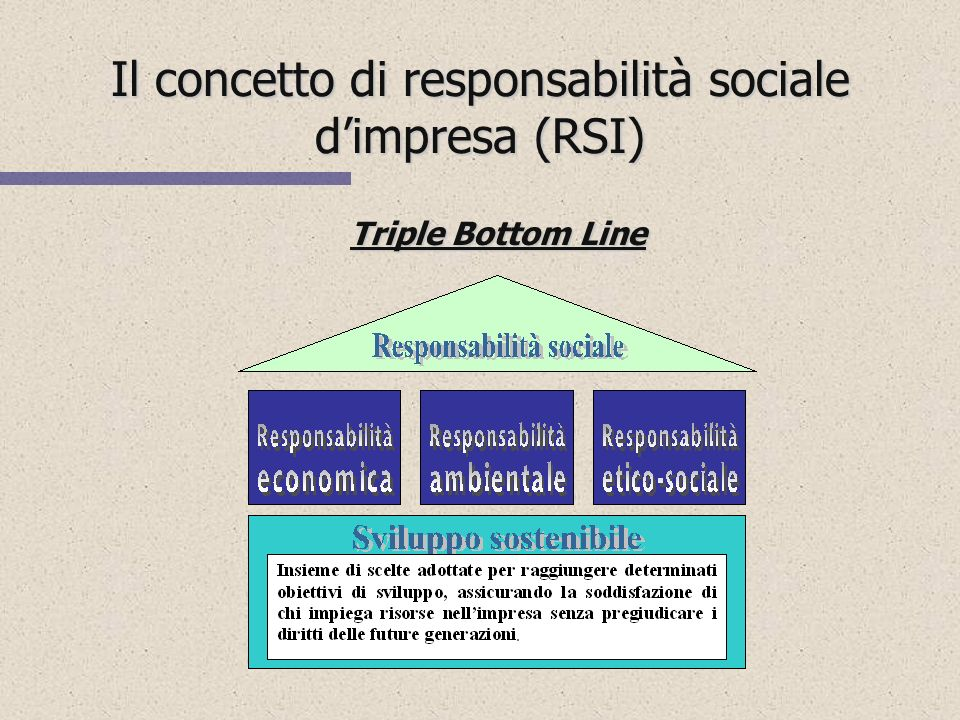 Il concetto di responsabilità sociale dimpresa (RSI) n SVILUPPO SOSTENIBILE n SVILUPPO SOSTENIBILE (sustainable development) n CITTADINANZA DIMPRESA n