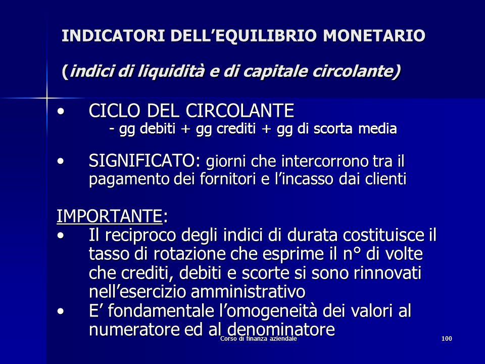 Corso di finanza aziendale100 INDICATORI DELLEQUILIBRIO MONETARIO (indici di liquidità e di capitale circolante) CICLO DEL CIRCOLANTECICLO DEL CIRCOLA