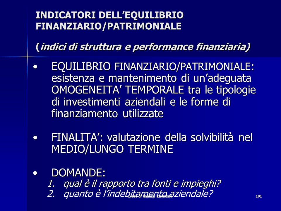 Corso di finanza aziendale101 INDICATORI DELLEQUILIBRIO FINANZIARIO/PATRIMONIALE (indici di struttura e performance finanziaria) EQUILIBRIO FINANZIARI