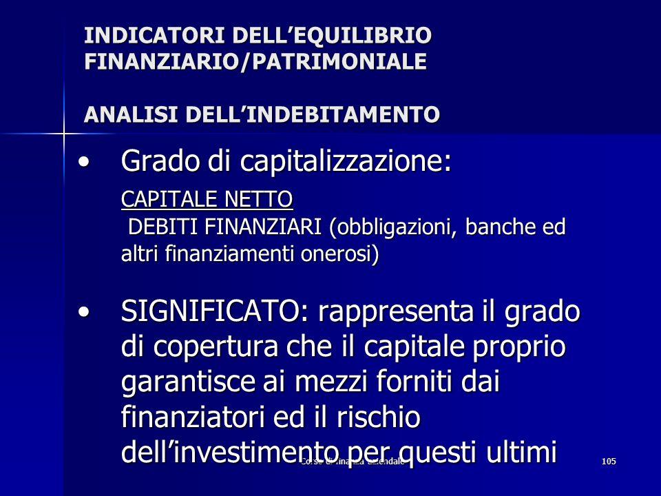 Corso di finanza aziendale105 INDICATORI DELLEQUILIBRIO FINANZIARIO/PATRIMONIALE ANALISI DELLINDEBITAMENTO Grado di capitalizzazione:Grado di capitali