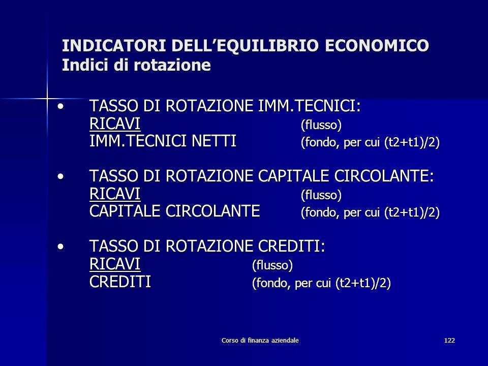 Corso di finanza aziendale122 INDICATORI DELLEQUILIBRIO ECONOMICO Indici di rotazione TASSO DI ROTAZIONE IMM.TECNICI:TASSO DI ROTAZIONE IMM.TECNICI: R