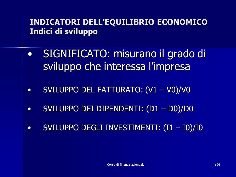 Corso di finanza aziendale124 INDICATORI DELLEQUILIBRIO ECONOMICO Indici di sviluppo SIGNIFICATO: misurano il grado di sviluppo che interessa limpresa