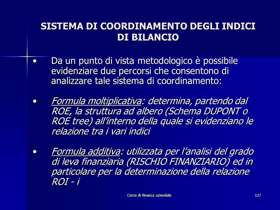 Corso di finanza aziendale127 SISTEMA DI COORDINAMENTO DEGLI INDICI DI BILANCIO Da un punto di vista metodologico è possibile evidenziare due percorsi