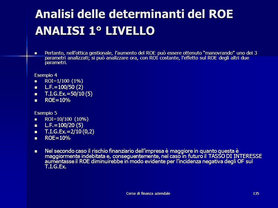 Corso di finanza aziendale135 Analisi delle determinanti del ROE ANALISI 1° LIVELLO Pertanto, nellottica gestionale, laumento del ROE può essere otten