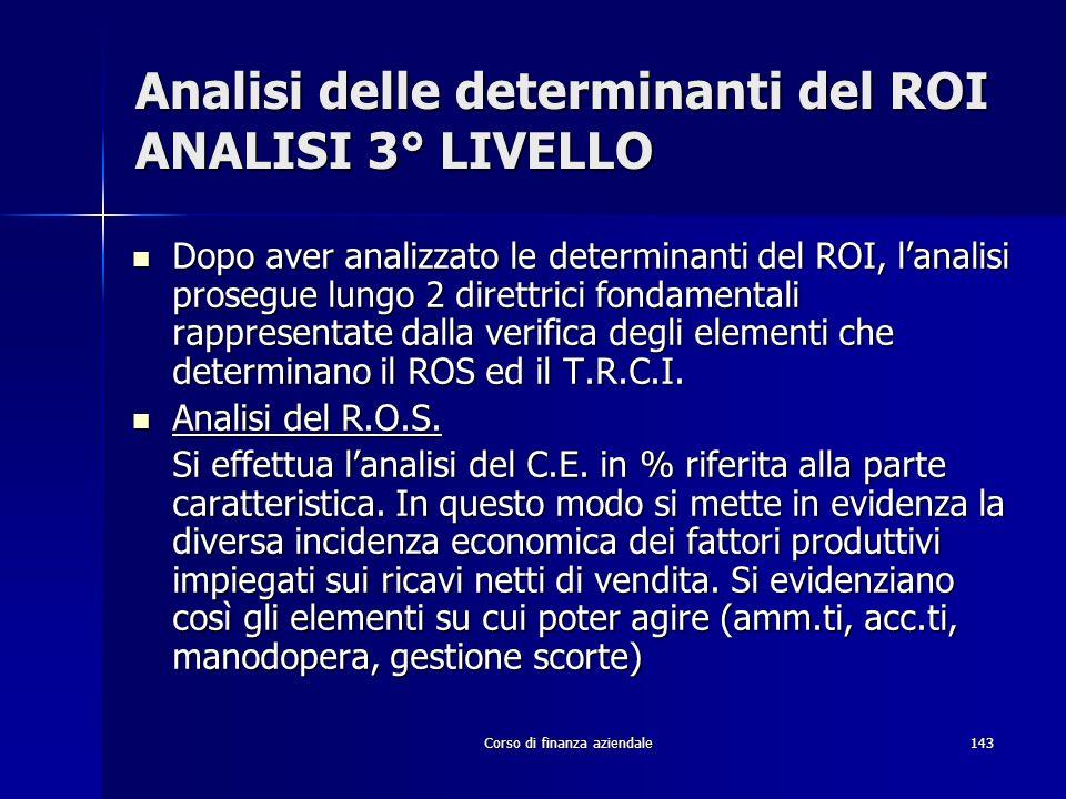 Corso di finanza aziendale143 Analisi delle determinanti del ROI ANALISI 3° LIVELLO Dopo aver analizzato le determinanti del ROI, lanalisi prosegue lu