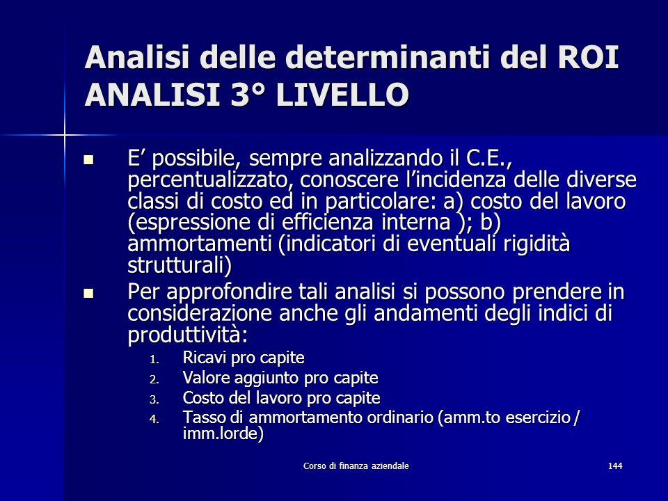 Corso di finanza aziendale144 Analisi delle determinanti del ROI ANALISI 3° LIVELLO E possibile, sempre analizzando il C.E., percentualizzato, conosce