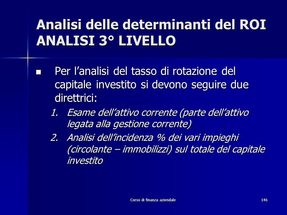 Corso di finanza aziendale146 Analisi delle determinanti del ROI ANALISI 3° LIVELLO Per lanalisi del tasso di rotazione del capitale investito si devo