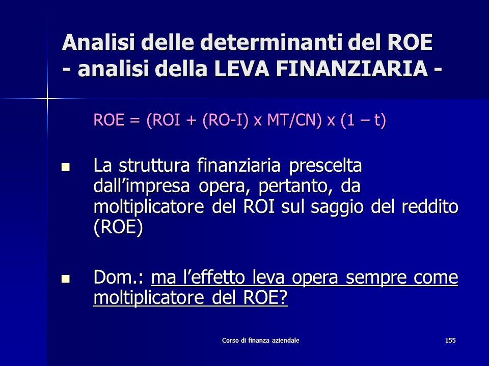 Corso di finanza aziendale155 Analisi delle determinanti del ROE - analisi della LEVA FINANZIARIA - ROE = (ROI + (RO-I) x MT/CN) x (1 – t) La struttur