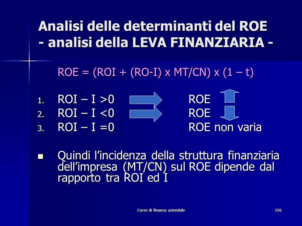 Corso di finanza aziendale156 Analisi delle determinanti del ROE - analisi della LEVA FINANZIARIA - ROE = (ROI + (RO-I) x MT/CN) x (1 – t) 1. ROI – I
