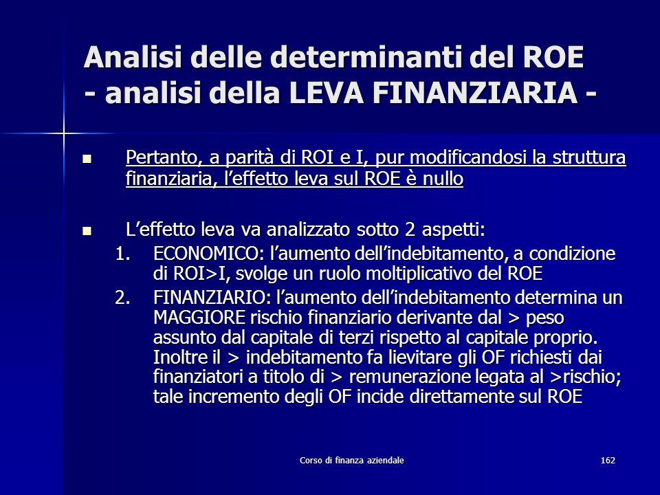 Corso di finanza aziendale162 Analisi delle determinanti del ROE - analisi della LEVA FINANZIARIA - Pertanto, a parità di ROI e I, pur modificandosi l