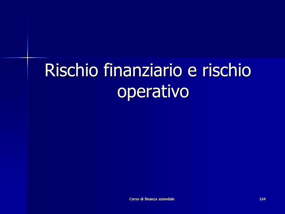 Corso di finanza aziendale164 Rischio finanziario e rischio operativo