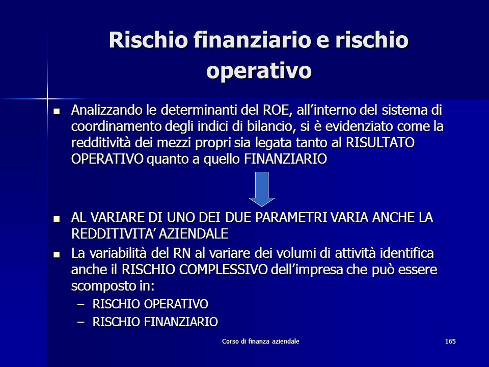 Corso di finanza aziendale165 Rischio finanziario e rischio operativo Analizzando le determinanti del ROE, allinterno del sistema di coordinamento deg