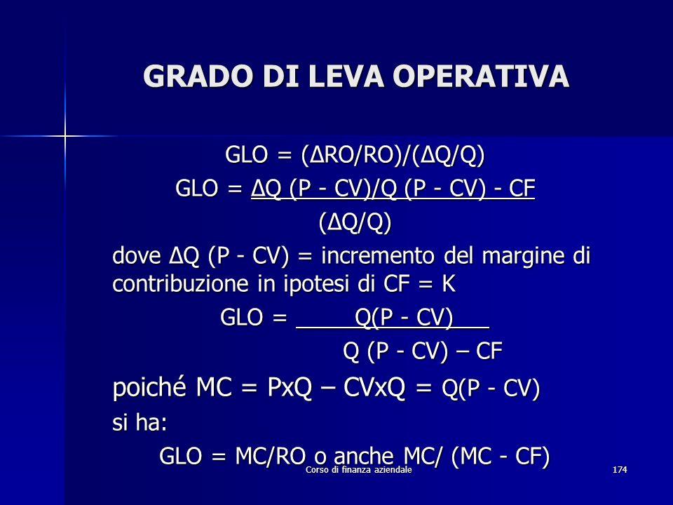 Corso di finanza aziendale174 GRADO DI LEVA OPERATIVA GLO = (RO/RO)/(Q/Q) GLO = Q (P - CV)/Q (P - CV) - CF (Q/Q) dove Q (P - CV) = incremento del marg