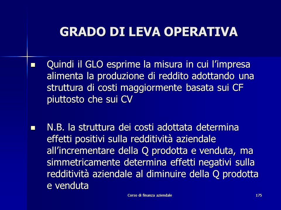 Corso di finanza aziendale175 GRADO DI LEVA OPERATIVA Quindi il GLO esprime la misura in cui limpresa alimenta la produzione di reddito adottando una