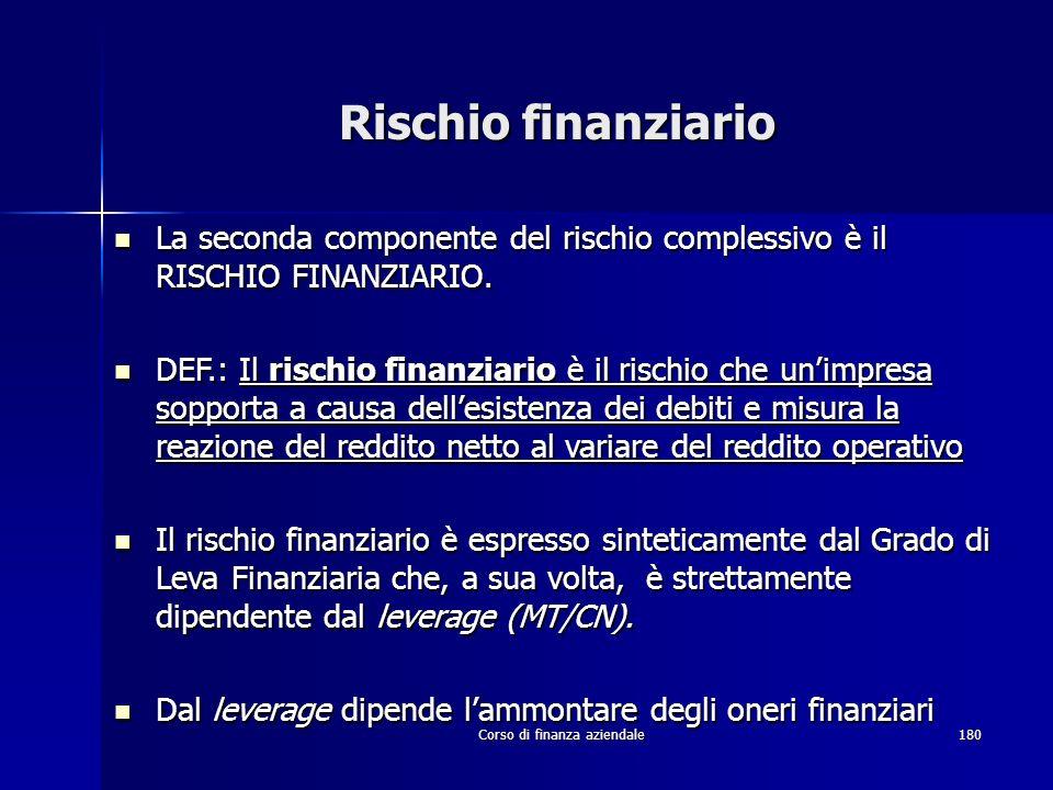 Corso di finanza aziendale180 Rischio finanziario La seconda componente del rischio complessivo è il RISCHIO FINANZIARIO. La seconda componente del ri