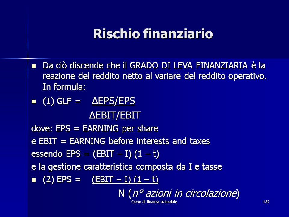 Corso di finanza aziendale182 Rischio finanziario Da ciò discende che il GRADO DI LEVA FINANZIARIA è la reazione del reddito netto al variare del redd