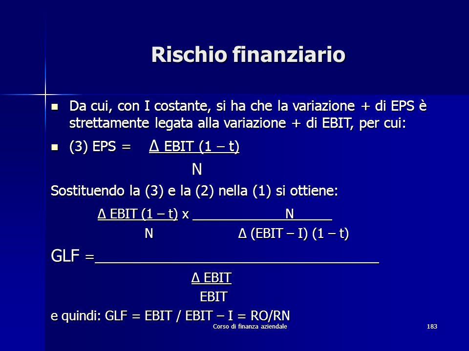 Corso di finanza aziendale183 Rischio finanziario Da cui, con I costante, si ha che la variazione + di EPS è strettamente legata alla variazione + di