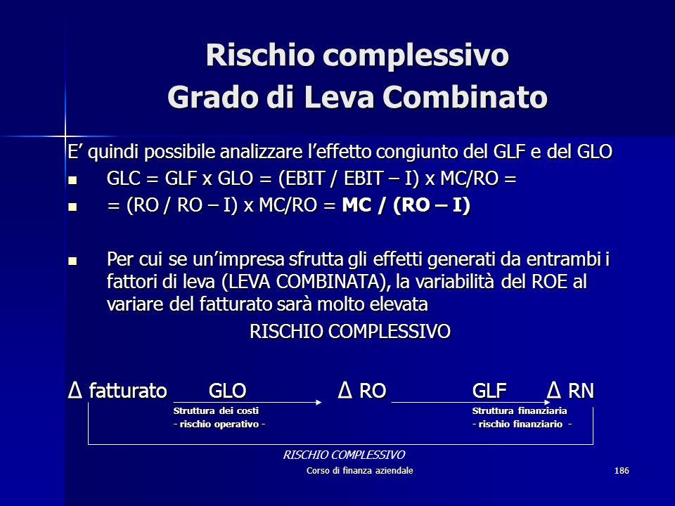Corso di finanza aziendale186 Rischio complessivo Grado di Leva Combinato E quindi possibile analizzare leffetto congiunto del GLF e del GLO GLC = GLF
