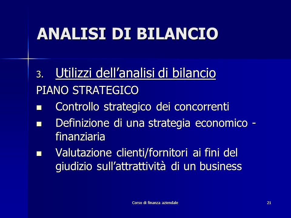 Corso di finanza aziendale21 ANALISI DI BILANCIO 3. Utilizzi dellanalisi di bilancio PIANO STRATEGICO Controllo strategico dei concorrenti Controllo s
