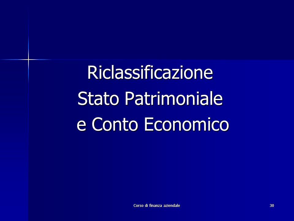 Corso di finanza aziendale30 Riclassificazione Stato Patrimoniale e Conto Economico e Conto Economico