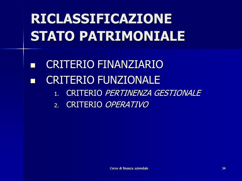 Corso di finanza aziendale34 RICLASSIFICAZIONE STATO PATRIMONIALE CRITERIO FINANZIARIO CRITERIO FINANZIARIO CRITERIO FUNZIONALE CRITERIO FUNZIONALE 1.