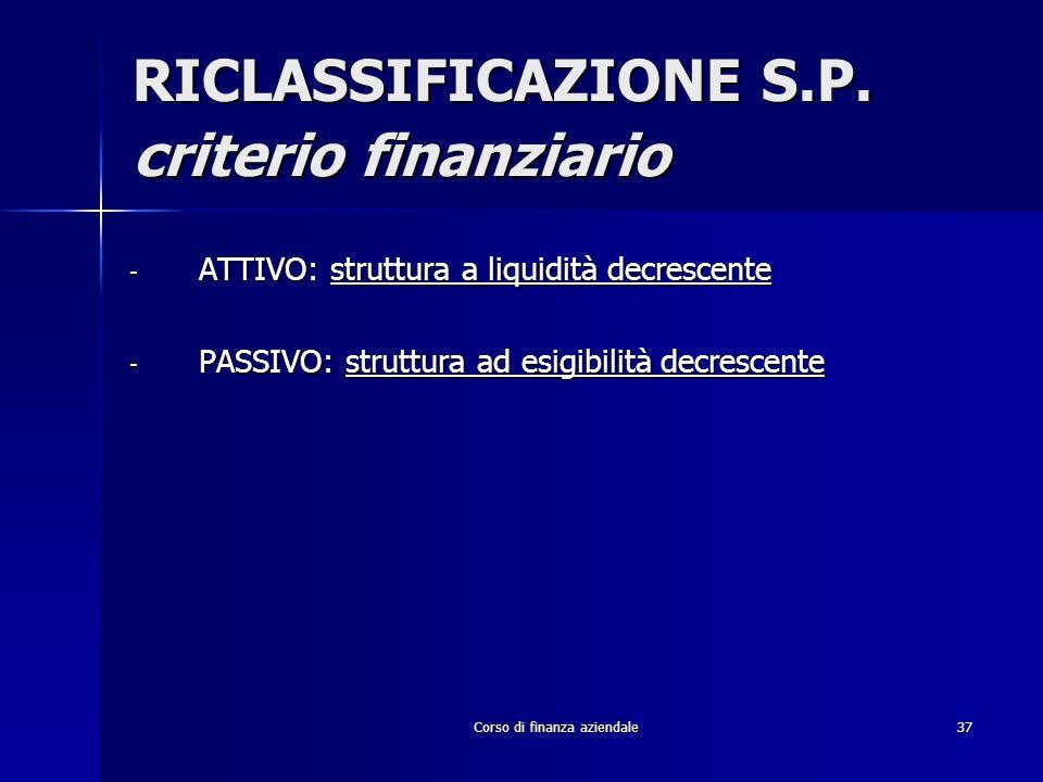 Corso di finanza aziendale37 RICLASSIFICAZIONE S.P. criterio finanziario - ATTIVO: struttura a liquidità decrescente - PASSIVO: struttura ad esigibili