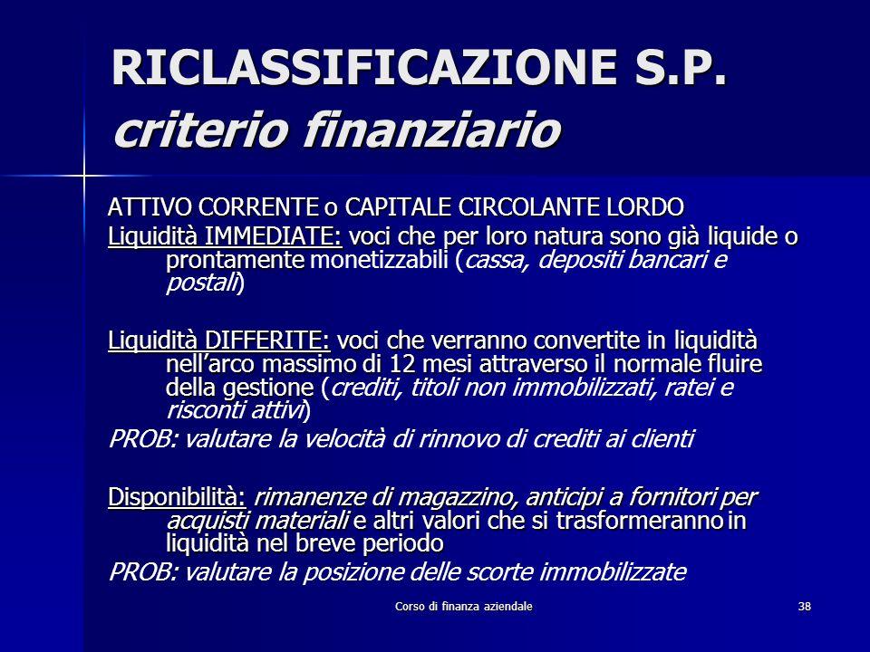 Corso di finanza aziendale38 RICLASSIFICAZIONE S.P. criterio finanziario ATTIVO CORRENTE o CAPITALE CIRCOLANTE LORDO Liquidità IMMEDIATE:voci che per