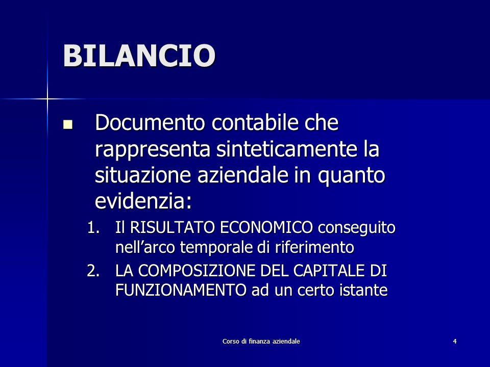 Corso di finanza aziendale4 BILANCIO Documento contabile che rappresenta sinteticamente la situazione aziendale in quanto evidenzia: Documento contabi