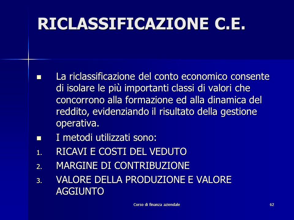 Corso di finanza aziendale62 RICLASSIFICAZIONE C.E. La riclassificazione del conto economico consente di isolare le più importanti classi di valori ch