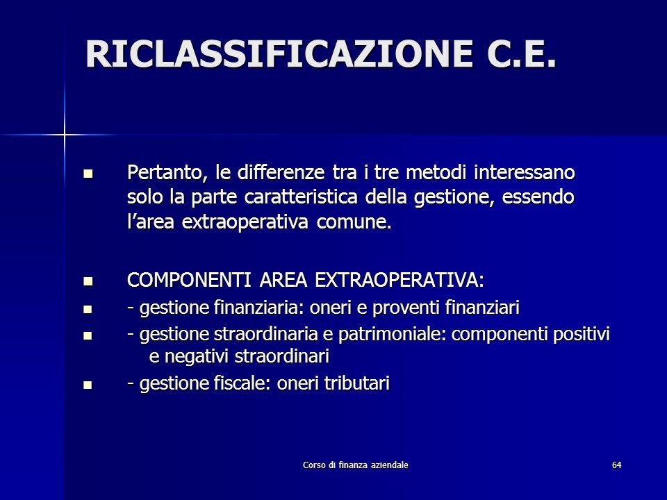 Corso di finanza aziendale64 RICLASSIFICAZIONE C.E. Pertanto, le differenze tra i tre metodi interessano solo la parte caratteristica della gestione,