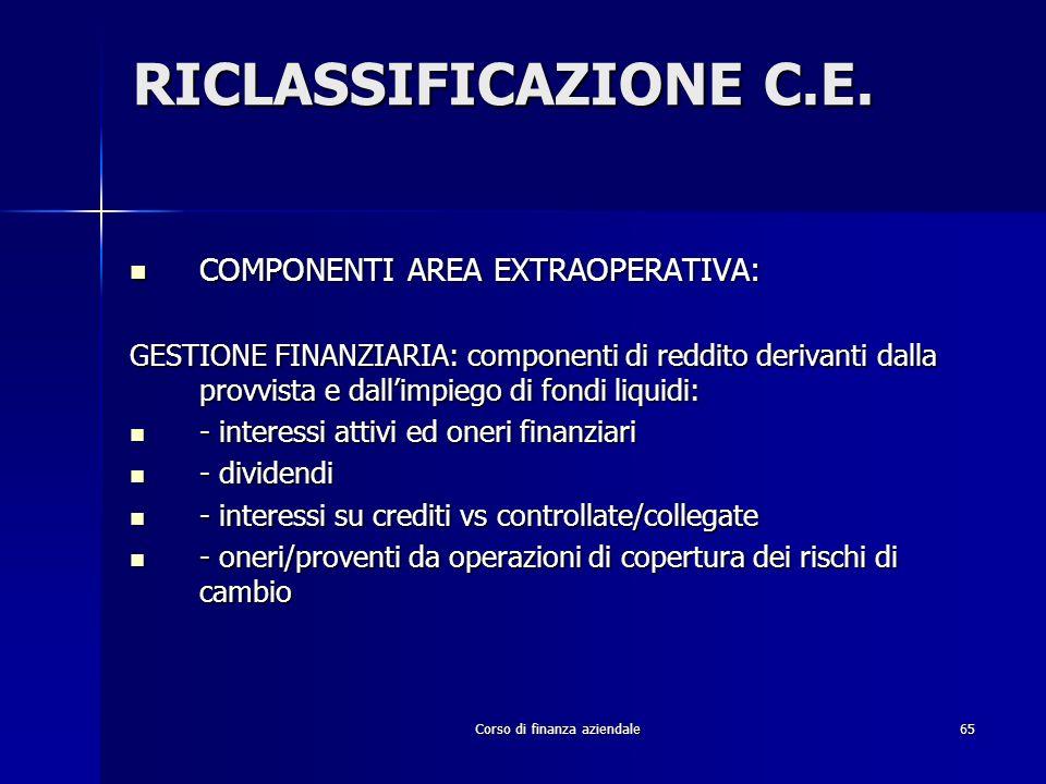 Corso di finanza aziendale65 RICLASSIFICAZIONE C.E. COMPONENTI AREA EXTRAOPERATIVA: COMPONENTI AREA EXTRAOPERATIVA: GESTIONE FINANZIARIA: componenti d