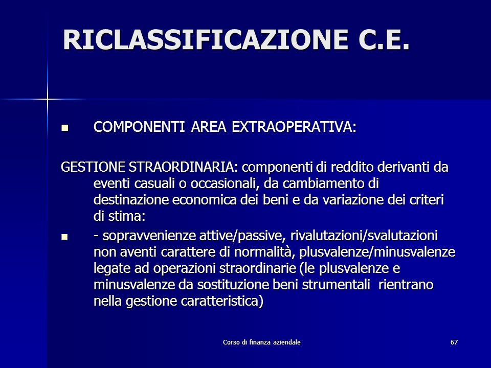 Corso di finanza aziendale67 RICLASSIFICAZIONE C.E. COMPONENTI AREA EXTRAOPERATIVA: COMPONENTI AREA EXTRAOPERATIVA: GESTIONE STRAORDINARIA: componenti