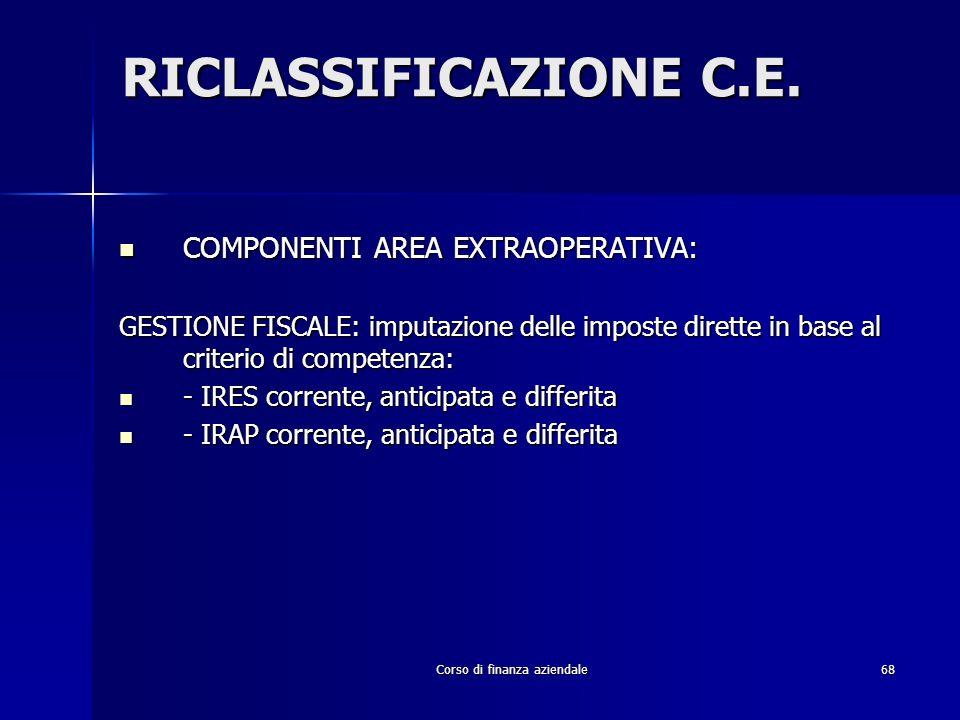 Corso di finanza aziendale68 RICLASSIFICAZIONE C.E. COMPONENTI AREA EXTRAOPERATIVA: COMPONENTI AREA EXTRAOPERATIVA: GESTIONE FISCALE: imputazione dell