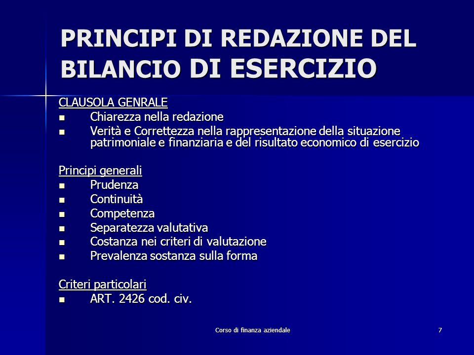 Corso di finanza aziendale38 RICLASSIFICAZIONE S.P.