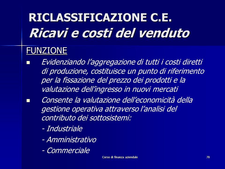 Corso di finanza aziendale70 RICLASSIFICAZIONE C.E. Ricavi e costi del venduto FUNZIONE Evidenziando laggregazione di tutti i costi diretti di produzi