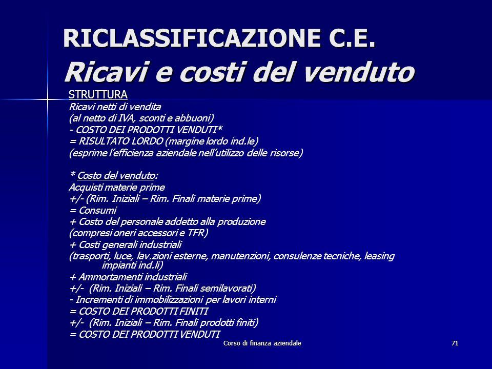 Corso di finanza aziendale71 RICLASSIFICAZIONE C.E. Ricavi e costi del venduto STRUTTURA Ricavi netti di vendita (al netto di IVA, sconti e abbuoni) -