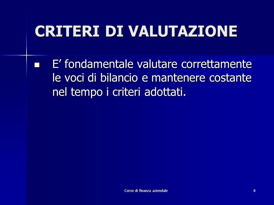 Corso di finanza aziendale109 INDICATORI DELLEQUILIBRIO FINANZIARIO/PATRIMONIALE INDICI DI COMPOSIZIONEINDICI DI COMPOSIZIONE Crediti/C.I.; Imm.Nette/C.I.; Magazzino/C.I.; Attività correnti/C.I.