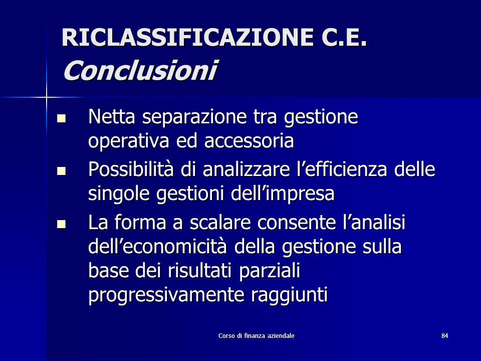 Corso di finanza aziendale84 RICLASSIFICAZIONE C.E. Conclusioni Netta separazione tra gestione operativa ed accessoria Netta separazione tra gestione